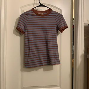 Brown and blue striped shirt